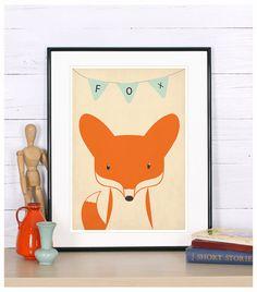 Retro Poster - Fox, Vixen, Waldtiere, Fennec, Vintage print, A4 oder 8 x 10, Kinderzimmer Wandgestaltung, retro Wand Dekor, Süße Tierbabys