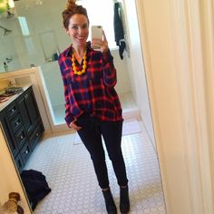 How To Wear: Plaid | Buffalo Plaid, Plaid tunic, Red and Blue Plaid, Yellow statement necklace, Noonday Necklace, Dark Denim, Skinny Jeans, Navy Blue Boots, Booties #RachWear