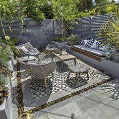 Private Small Garden Design ideas for this small south London courtyard garden e. - Private Small Garden Design ideas for this small south London courtyard garden evolved from the client's love of the hand made Italian tiles Source by - Outdoor Living Areas, Outdoor Rooms, Outdoor Lounge, Modern Outdoor Living, Living Spaces, Outdoor Pergola, Small Living, Living Room, Outdoor Decor