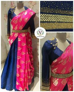 Saree paired with skirt. The look for your next occasion. Jumkhi design saree paired with skirt is unique style. Blouse with jumkhi design hand embroidery work on yoke. Half Saree Lehenga, Lehenga Saree Design, Lehenga Designs, Saree Dress, Lehanga Saree, Lahenga, Half Saree Designs, Saree Blouse Patterns, Fancy Blouse Designs