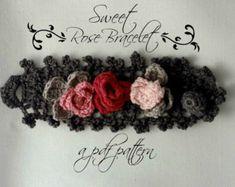 Crocheted Sweet Roses Bracelet PDF Pattern photo by sewella