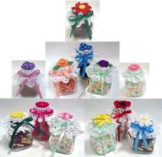 Jars filled with delectable preserves or other homemade items make and excellent gift. Decorative and canning have many practical purposes, whether you fill them with items for a gift or use the jars around your home to hold things. Why not jazz up the jars with a pretty lid cover to give a personal and decorative touch. Maggie has created beautiful Flower Jar Lid Covers for this very reason. Recycle your old jam or baby food jars or purchase nice apothecary jars to use with these decorati