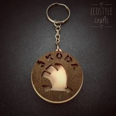 Skoda  Key Chain with logo  Laser Cut Wooden Keychain