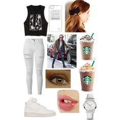 Starbucks with Hazz by zishahoralik on Polyvore featuring polyvore, fashion, style, Forever 21, Frame Denim, NIKE, 88 RUE DU RHONE and River Island