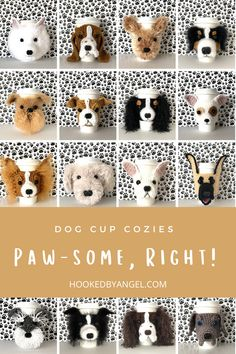 Can you handle the tail wag-worthy cuteness of these dog cup cozy crochet patterns?! This fun crochet pattern bundle has 68 realistic dog breed designs to choose from. Such a paw-some crochet gift idea for all the dog lovers in your life. You will never have so much fun crocheting!! Coffee Cozy Pattern, Crochet Dog Patterns, Crochet Ideas, Dog Mom Gifts, Parent Gifts, Family Gifts, Brown Dachshund, Crochet Cup Cozy, Dog Coffee