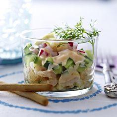 Gurken-Radieschen-Cocktail mit Eismeergarnelen Rezept