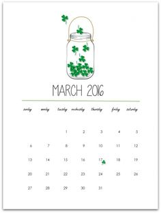 March 2016 Free Printable Calendar Page – Mason Jar Crafts Love