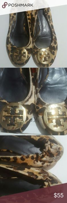 TORY BURCH CHEETAH FLATS 8.5 Used condition with some wear in back of heel area other than that condition is ok Size is 8 and a half  Used good condition  Make offer Tory Burch Shoes Flats & Loafers