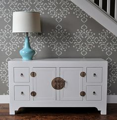 A THOUSAND THREADS: Fun Foyer Ideas. I used this stencil in my daughters room.  Awesome.  Must use cream stencil paint and proper brush, but it was done in less than 2 hours.