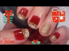 Festival Red and Gold Glitter and Rhinestone Christmas Nail Art Tutorial