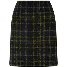 Hobbs Acacia Check Skirt ($155) ❤ liked on Polyvore featuring skirts, women, hobbs, green a line skirt, a line skirt, green skirt and checked skirt