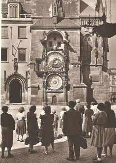 Under Astronomical Clock in Prague, photo by J.Ehm, 50s