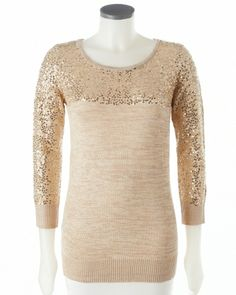 Sequined Scoop Neck Knit Sweater