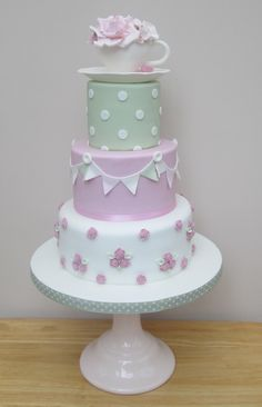 A vintage tea cup Cath Kidston themed Wedding Cake
