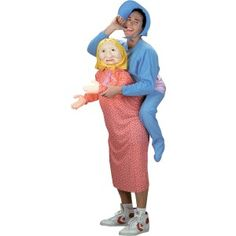People will look once, twice and then a third time because this costume is so confusing. It's called But Mommy, I Don't Want to Grow Up. The costume has a special dress and pajama outfit. The baby has bonnet and an inflatable body and legs. The old lady has a scarf and mask. Be the life of the party!