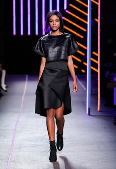 Milly Black asymmetrical skirt from Fall winter 2015 runway