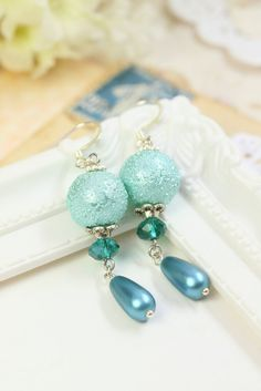 Blue Pearl Earrings Drops, Glass Pearl Dangles, Sky Blue Earrings, Earrings for Her, Simple Earrings, Light Blue Pearl Drops, Gift under 20 by TrinketHouse on Etsy