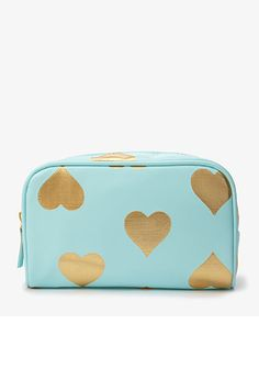 Metallic Heart Cosmetic Bag | FOREVER21 - 1037584597 --> seems about same size as old gold glitter one