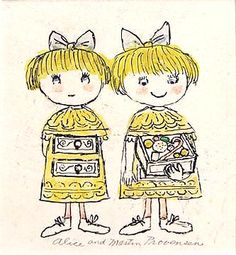 """Original """"Two Girls"""" from Fun and Nonsense Illustrated by Alice Provensen & Martin Provensen available at the R. Michelson Galleries"""