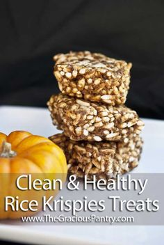 Clean Eating Rice Krispies Treats! I use Gluten Free Rice Krispies Cereal which is made with brown rice.