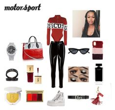 """""""Motorsport"""" by aaliyahjfreeman on Polyvore featuring GCDS, Puma, Rolex, Colette Jewelry, MAC Cosmetics, Narciso Rodriguez, CHARLES & KEITH, Gucci and Mark & Graham"""