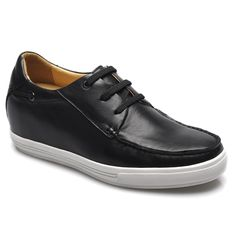 Chamaripa 2.76 inch Leather Casual black lace-up soft increasing height shoes for short guys