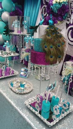 Noticeable unearthed quinceanera party decorations useful link Peacock Birthday Party, Birthday Party Celebration, 65th Birthday, Birthday Cake, Peacock Decor, Peacock Theme, Peacock Party Ideas, Peacock Centerpieces, Peacock Colors