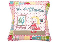 "Coussin arty ""Bunny art gallery"""