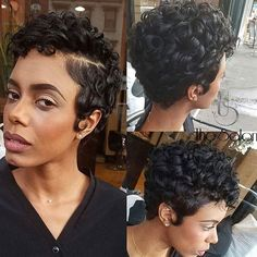 Pretty curls ➰ on this pixie @hairanointing ✂️ #voiceofhair #brooklynhair…