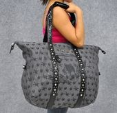 Would love this for weekend getaways. Harley-Davidson® Womens Skull Jacquard Large Grey Duffel Purse $48.99