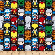Marvel Comics The Avengers Kawaii Set Patch Multi from @fabricdotcom  Designed by Marvel and licensed to Springs Creative Products, this cotton print is perfect for quilting, apparel and home decor accents.  Colors include black, white, grey, orange, yellow, red and blue.
