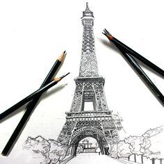 Easy Drawings: 70 Easy and Beautiful Eiffel Tower Drawing and Sketches Cool Art Drawings, Beautiful Drawings, Easy Drawings, Eiffel Tower Drawing, Eiffel Tower Photography, City Drawing, Paris Drawing, Graphite Drawings, Pencil Drawings