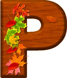 Presentation Alphabets: Cherry Wood Leaves Letter P