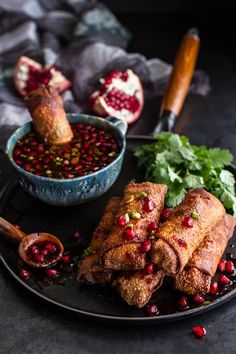Egg Rolls with Sweet Chile Pomegranate Sauce