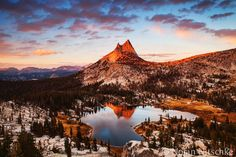 Last light on Cathedral Peak and Upper Cathedral Lake.