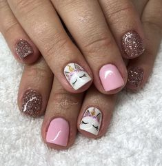 25 Mystical Unicorn Nail Designs Taking you to a Land of Fantasy 25 Mystical Uni. - 25 Mystical Unicorn Nail Designs Taking you to a Land of Fantasy 25 Mystical Unicorn Nail Desig - Nail Art Diy, Diy Nails, Cute Nails, Little Girl Nails, Girls Nails, Baby Girl Nails, Unicorn Nails Designs, Girls Nail Designs, Toe Nail Designs Simple
