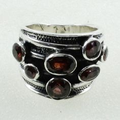 Garnet Stone Unique Design 925 Sterling Silver Ring by JaipurSilverIndia on Etsy