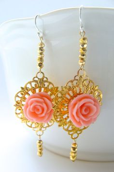 Bring splendor to your with this brilliantly-designed Rose Jewelry, Bling Jewelry, Jewelry Accessories, Septum Jewelry, Coral Jewelry, Coral Earrings, Rose Earrings, Statement Earrings, Henna
