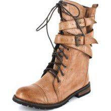 I'd like to look the part of a fierce survivalist....but hiking boots would probably be more practical. Women's Buckle Womens Designer Combat Boots  $49 at Buy.com