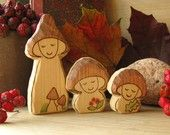 Mushroom Family - Waldorf inspired wooden toy - set of 3 gnomes