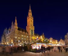 Munich, Germany - the main Marienplatz Christmas Market on the central Rathaus square.