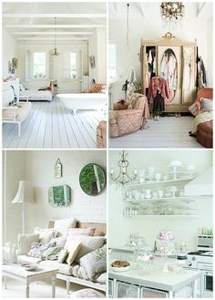 Country cottage white interior bedroom painted timber floors styling details