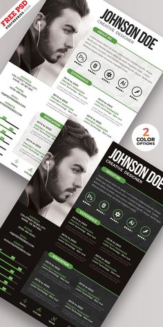 PSD Creative Resume Design Templates If you like this cv template. Check others on my CV template board :) Thanks for sharing! Creative Cv Template, Best Free Resume Templates, Creative Resume Design, Graphic Resume, Graphic Design Resume, Resume Design Template, Design Templates, Psd Templates, Resume Layout