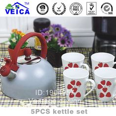 1 Pcs Classic Shape Stainless Steel Tea Coffee Pot Water Kettle Teapot Waterpot With 4 Pcs Red Color Ceramic Cups