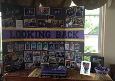 """Looking Back"" board, coupled with yearbooks and prom picture to display Zach's high school memories for graduation."