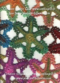 "Crochet - Free Pattern: ""Crochet star shawl"" - Level: intermediate.  I will do it in lace with much smaller stars."