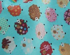 Cotton Fabric Sheep Mint Blue By The Yard