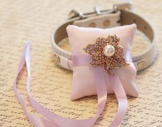 Pink Ring Pillow for dogs, Chic, Cute Ring pillow attach to the High quality Leather Collar, Pink Wedding Dog Accessory