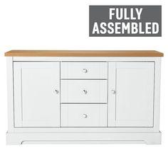 Buy Argos Home Westbury 2 Door 3 Drawer Sideboard - White Kitchen Sideboard, White Sideboard, Argos, Living Room Furniture, Dresser, Drawers, New Homes, Home And Garden, Doors