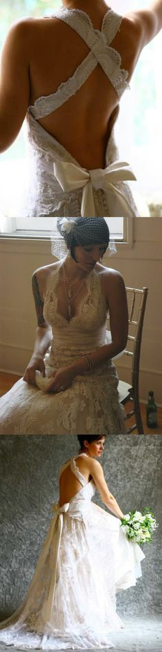 2016 wedding dresses with ribbon in the cross back, ivory lace bridal gown